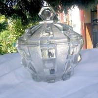 ArtDeco üveg cukortartó, bonbonier, asztalközép