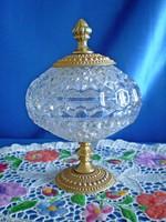 Gyönyörű kristály jellegű fém talpas üveg cukortartó, bonbonier 19 cm magas