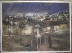 Ismeretlen festő: Tabáni látkép éjszaka, pasztell