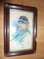 V. Porre: Tunéziai lányka, régi akvarell, jelzett