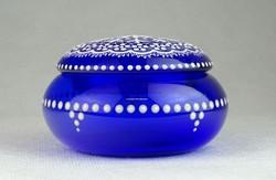 0N659 Jelzett kék parádi üveg bonbonier