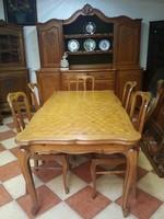 Barokk étkezőasztal 6 db székkel