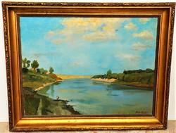 Id. Benedek Jenő (1906-1987) Tiszai táj 96x76cm Képcsarnokos festménye eredeti Garanciával !
