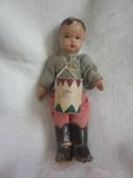Antik papírmasé fejű játék kis huszár figura