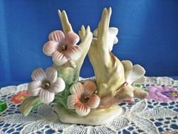 Gyönyörű jelzett porcelán virág csokor, ikebana