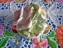 Gyönyörű jelzett porcelán dupla rózsa virág 3.