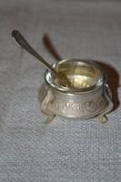 Ezüstözött asztali fűszeres kis tálka üveg betéttel és kanálkával