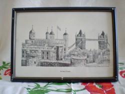KIÁRUSÍTÁS!!! Keretezett, szignózott grafika, kép: Londoni Tower