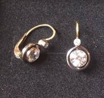 14k antik arany fülbevaló, hegyi kristályokkal