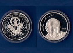 5 DOLLÁR pp EZÜST 2004 II. János Pál Észak Mariana Szigetek