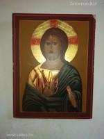 Gyönyörű orosz ortodox Jézus ábrázoló akril festmény fa ikon hátulján certifikációval