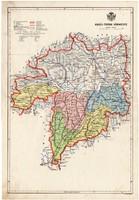 Abaúj - Torna vármegye térkép 1934, csonka Magyarország, megye, 1930-as évek, atlasz, eredeti