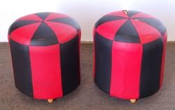 0N310 Régi retro piros-fekete műbőr puff pár
