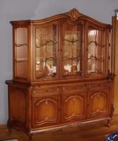 Warings chippendél barokk nagy tálalóvitrines szekrény 210x208x45cm