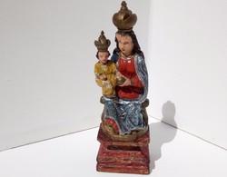 Antik faragvány Mária a kis Jézussal festett fa szobor 18-19. század