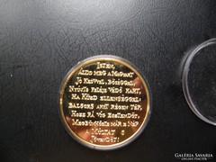 Millennium emlékérme 1896-1996 aranyozott!(6)