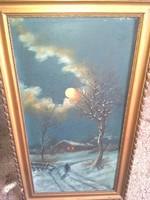 Kárpáthy Jenő: 2 db. havas erdő, vízpart olaj vászon festmény párban