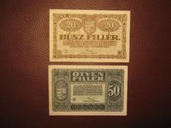 20 és 50 fillér 1920