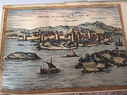 Porec /Poreč / látképe  1572 Hogenberg eredeti rézmetszet