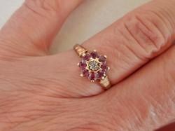Antik rubin és brillköves aranygyűrű