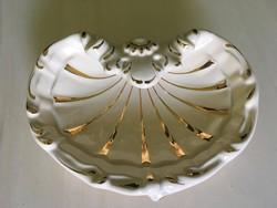 Zsolnay kagyló vaj színű 18karátos arannyal
