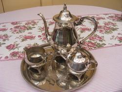 Fantasztikus vastagon ezüstözött teás vagy kávés készlet gyönyörű, majdnem újszerű állapotban