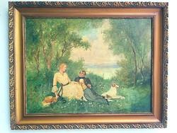 111 éves, értékes festmény, kedvező áron - Theodore Levigne: Udvarlás
